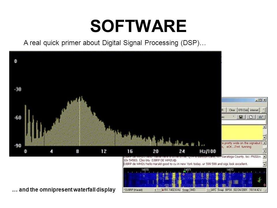 SOFTWARE A real quick primer about Digital Signal Processing (DSP)… … and the omnipresent waterfall display