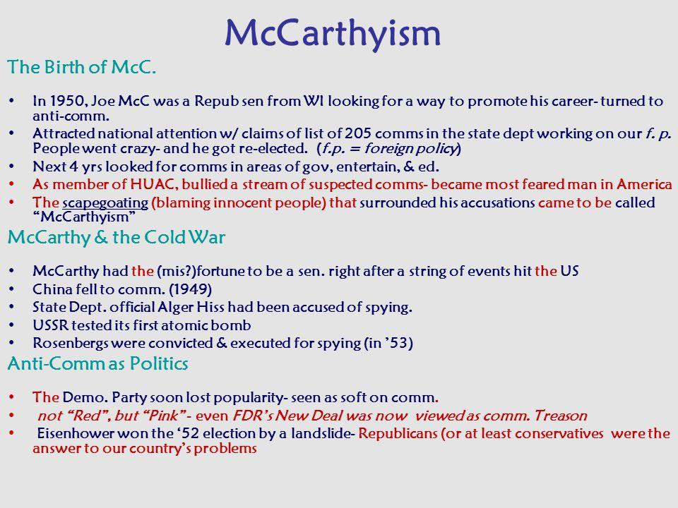 McCarthyism The Birth of McC.