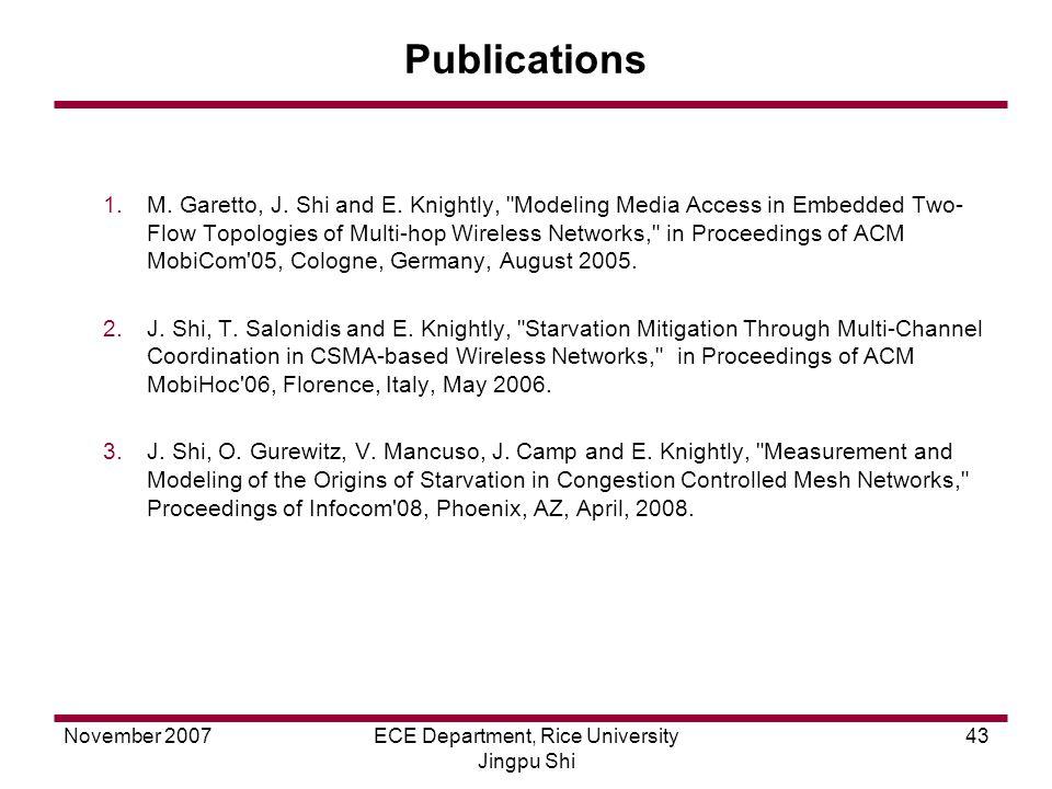 November 2007ECE Department, Rice University Jingpu Shi 43 Publications 1.M.