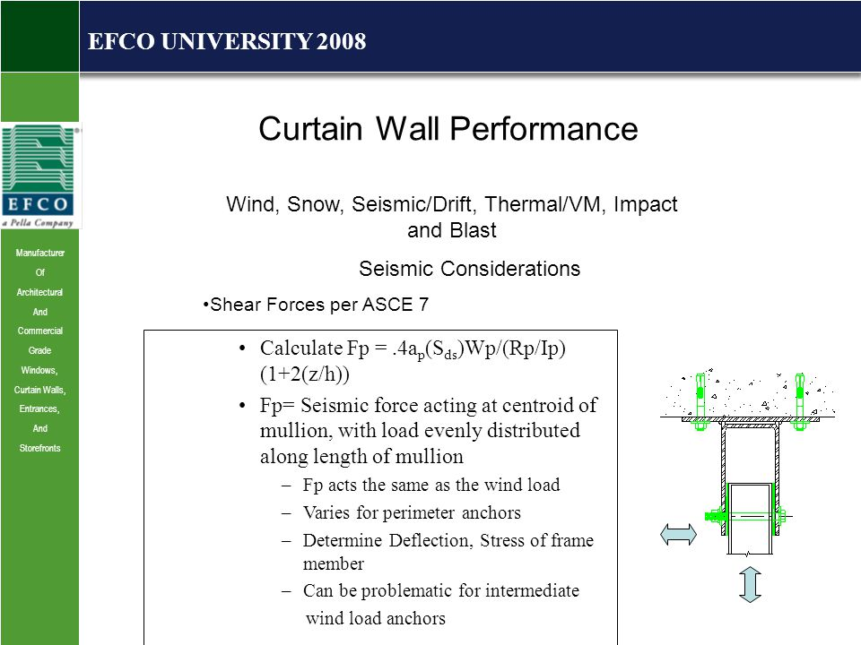 Manufacturer Of Architectural And Commercial Grade Windows, Curtain Walls, Entrances, And Storefronts EFCO UNIVERSITY 2008 Curtain Wall Performance Wind, Snow, Seismic/Drift, Thermal/VM, Impact and Blast Seismic Considerations Shear Forces per ASCE 7 Calculate Fp =.4a p (S ds )Wp/(Rp/Ip) (1+2(z/h)) Fp= Seismic force acting at centroid of mullion, with load evenly distributed along length of mullion –Fp acts the same as the wind load –Varies for perimeter anchors –Determine Deflection, Stress of frame member –Can be problematic for intermediate wind load anchors