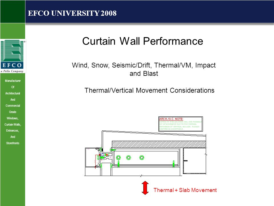 Manufacturer Of Architectural And Commercial Grade Windows, Curtain Walls, Entrances, And Storefronts EFCO UNIVERSITY 2008 Curtain Wall Performance Wind, Snow, Seismic/Drift, Thermal/VM, Impact and Blast Thermal/Vertical Movement Considerations Thermal + Slab Movement