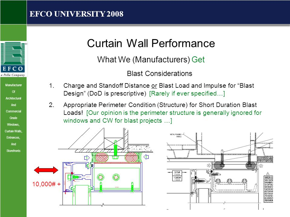 Manufacturer Of Architectural And Commercial Grade Windows, Curtain Walls, Entrances, And Storefronts EFCO UNIVERSITY 2008 Curtain Wall Performance What We (Manufacturers) Get Blast Considerations 1.Charge and Standoff Distance or Blast Load and Impulse for Blast Design (DoD is prescriptive) [Rarely if ever specified…] 2.Appropriate Perimeter Condition (Structure) for Short Duration Blast Loads.