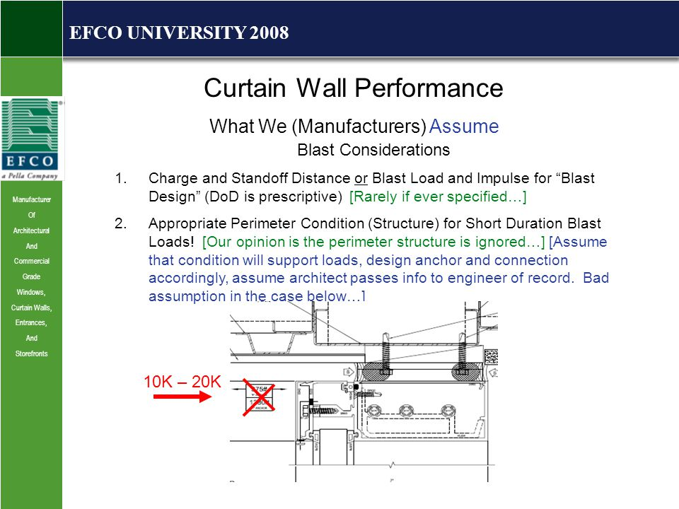 Manufacturer Of Architectural And Commercial Grade Windows, Curtain Walls, Entrances, And Storefronts EFCO UNIVERSITY 2008 Curtain Wall Performance What We (Manufacturers) Assume Blast Considerations 1.Charge and Standoff Distance or Blast Load and Impulse for Blast Design (DoD is prescriptive) [Rarely if ever specified…] 2.Appropriate Perimeter Condition (Structure) for Short Duration Blast Loads.