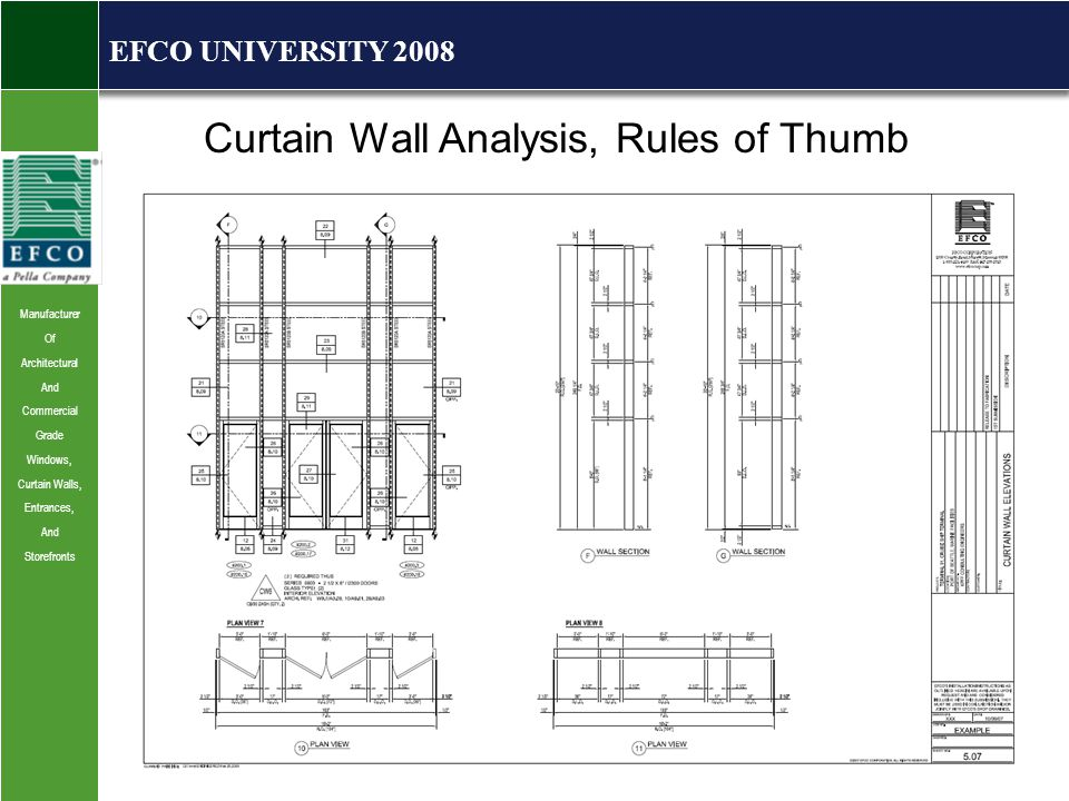 Manufacturer Of Architectural And Commercial Grade Windows, Curtain Walls, Entrances, And Storefronts EFCO UNIVERSITY 2008 Curtain Wall Analysis, Rules of Thumb