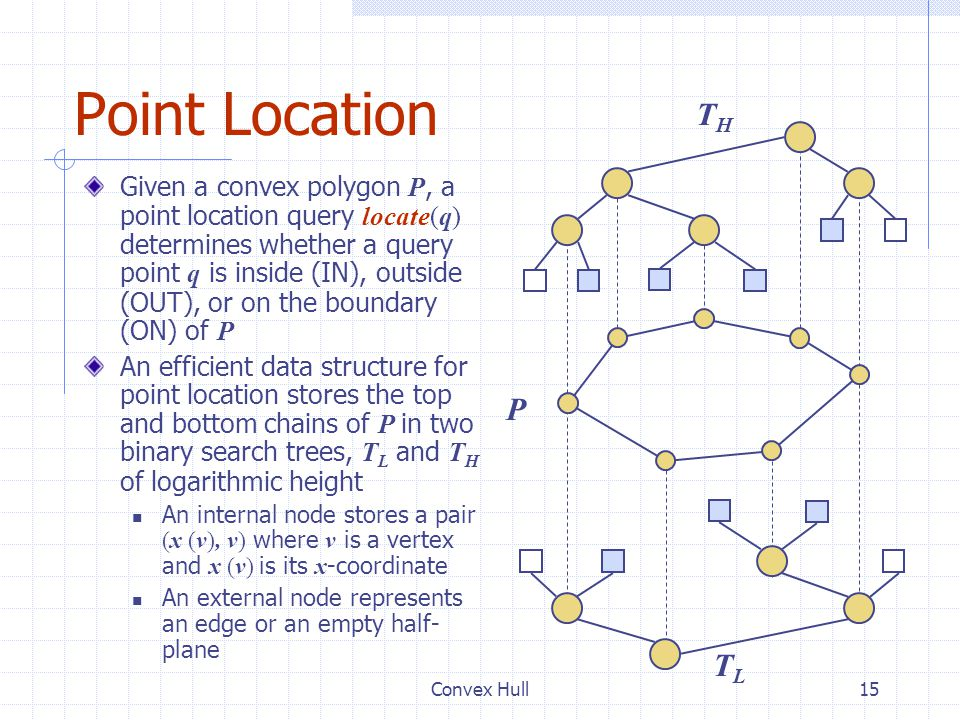 Convex Hull15 Point Location Given a convex polygon P, a point location query locate(q) determines whether a query point q is inside (IN), outside (OU