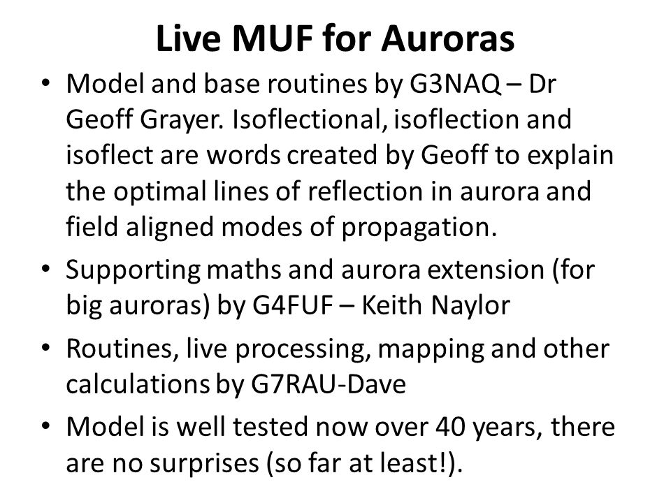 Live MUF for Auroras Model and base routines by G3NAQ – Dr Geoff Grayer.