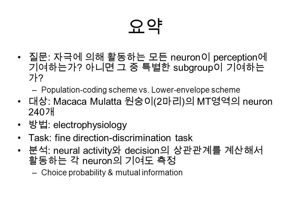 요약 질문 : 자극에 의해 활동하는 모든 neuron 이 perception 에 기여하는가 .