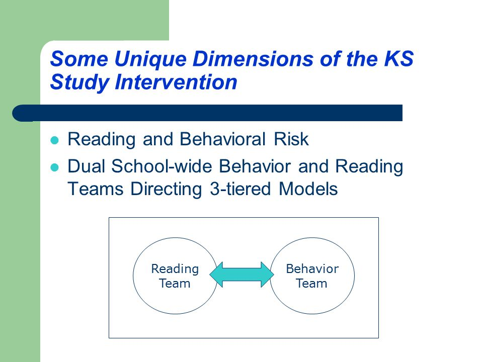 A Three-tiered Model for School-wide Screening & Early Intervention Primary Level Intervention All students receive instruction and support within the general education classroom (universals) Secondary Level Intervention Students not meeting benchmark goals using the DIBELS and students meeting SSBD/ESP behavioral risk scores receive differential instruction and intervention (small groups) Tertiary Level Intervention Students in intensive range or non-responsive to secondary level (individualized, long-term)