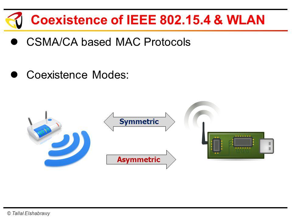 © Tallal Elshabrawy Coexistence of IEEE 802.15.4 & WLAN CSMA/CA based MAC Protocols Coexistence Modes: Symmetric Asymmetric