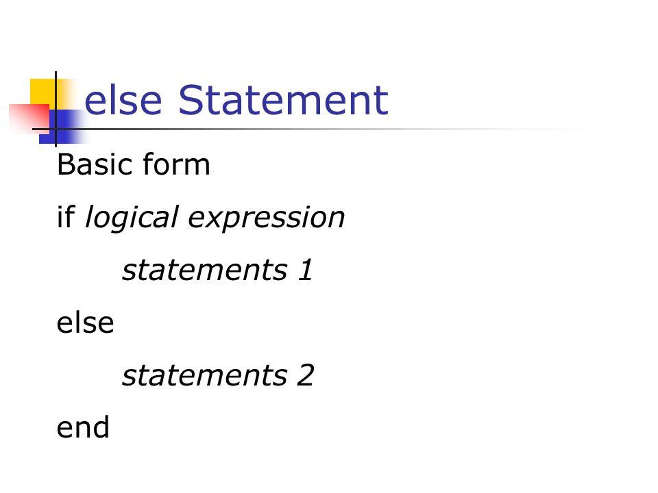 else Statement Basic form if logical expression statements 1 else statements 2 end
