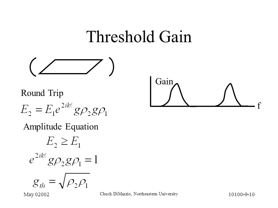 May 02002 Chuck DiMarzio, Northeastern University 10100-9-10 Threshold Gain f Gain Round Trip Amplitude Equation