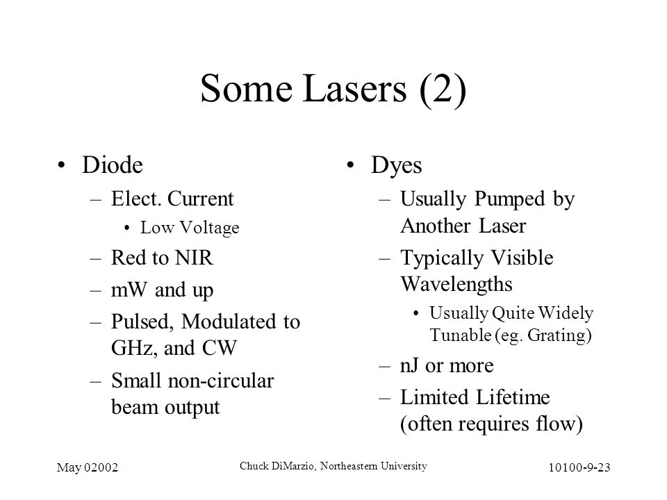 May 02002 Chuck DiMarzio, Northeastern University 10100-9-23 Some Lasers (2) Diode –Elect.
