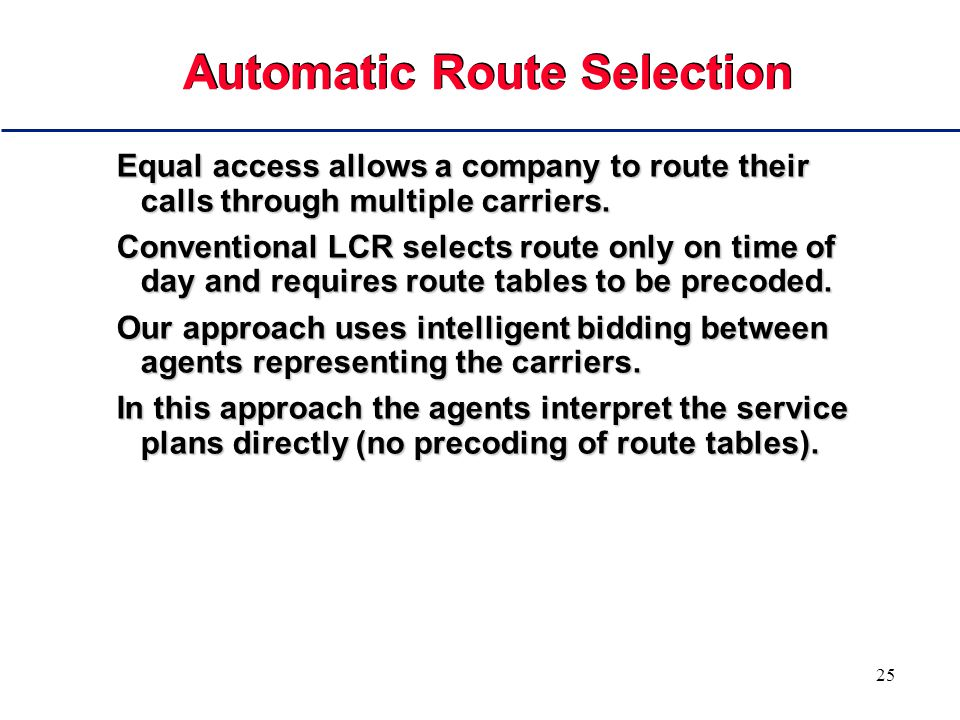 25 Automatic Route Selection Equal access allows a company to route their calls through multiple carriers.