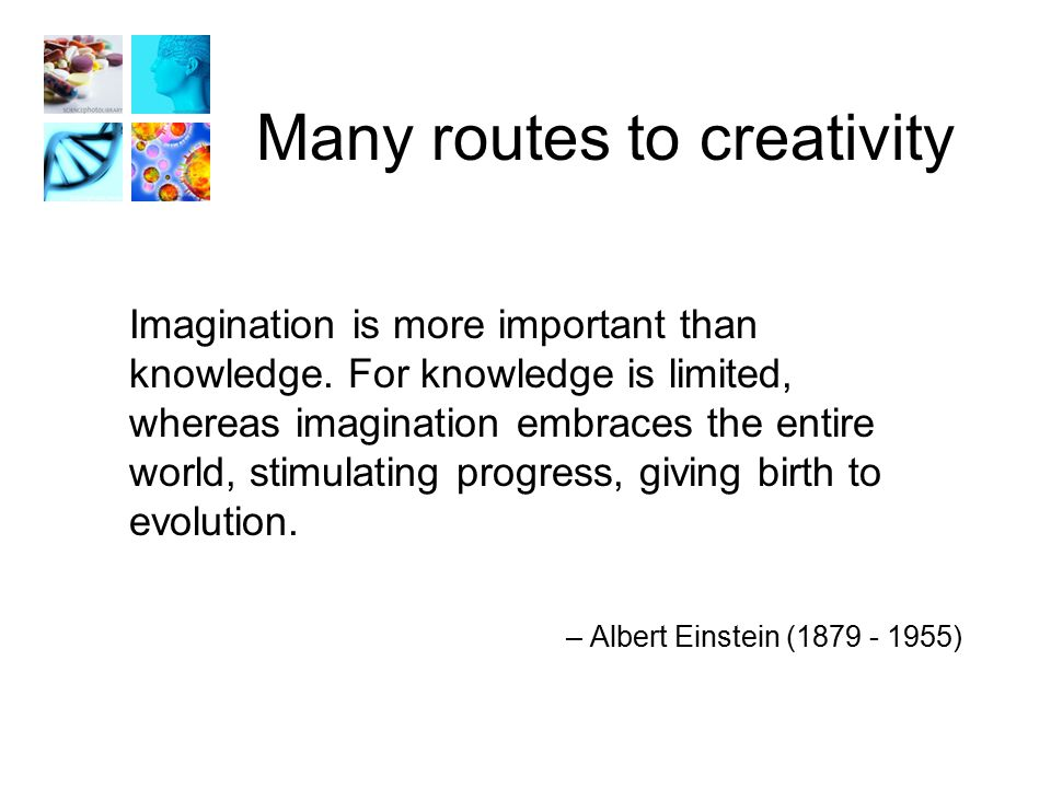 Many routes to creativity Imagination is more important than knowledge.