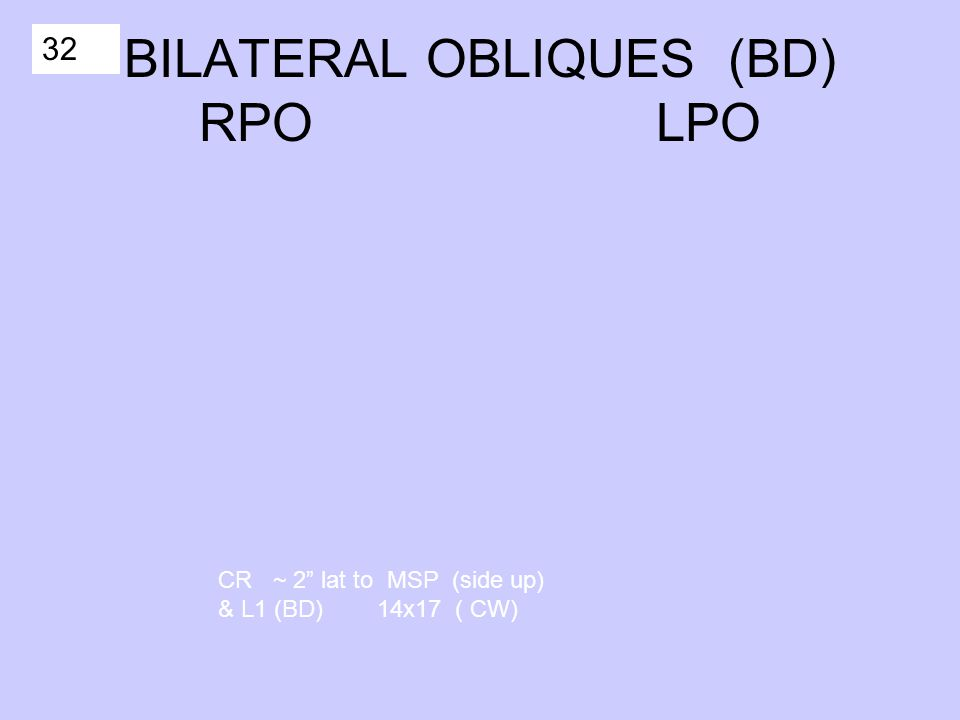 32 BILATERAL OBLIQUES (BD) RPO LPO CR ~ 2 lat to MSP (side up) & L1 (BD) 14x17 ( CW)
