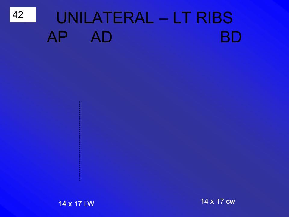 42 UNILATERAL – LT RIBS AP AD BD 14 x 17 LW 14 x 17 cw