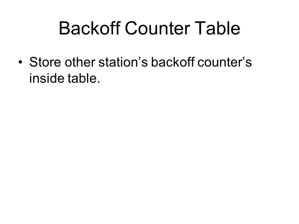 Backoff Counter Table Store other station's backoff counter's inside table.