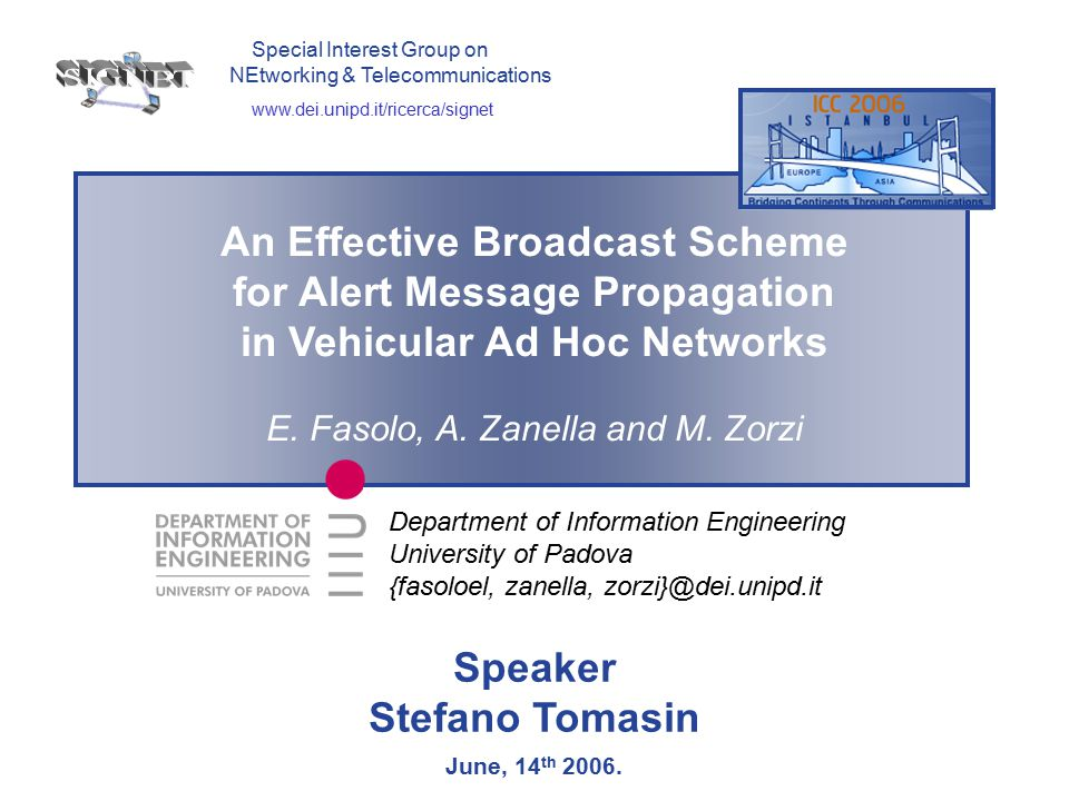 An Effective Broadcast Scheme for Alert Message Propagation in Vehicular Ad Hoc Networks  The time wasted during the re-broadcast procedure depends on  The collision probability  The probability that the furthest sub-areas are empty  Fixed Ns, for each node density, there is an optimum contention window size such that  The time wasted on re-broadcast procedure is minimized Some theoretical observations