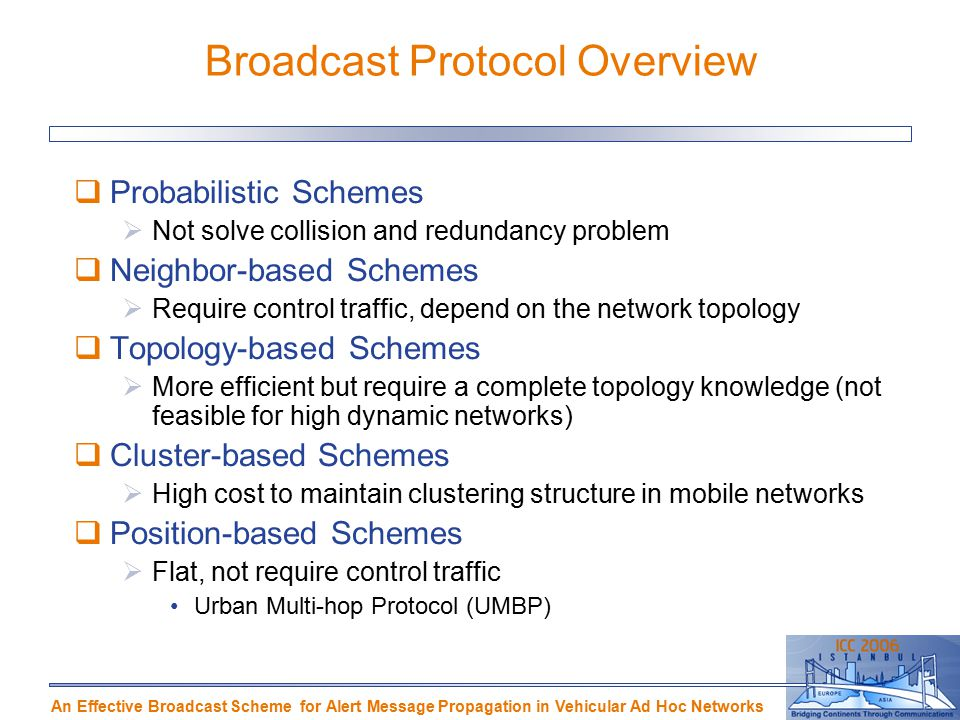 An Effective Broadcast Scheme for Alert Message Propagation in Vehicular Ad Hoc Networks Broadcast Protocol Overview  Probabilistic Schemes  Not solve collision and redundancy problem  Neighbor-based Schemes  Require control traffic, depend on the network topology  Topology-based Schemes  More efficient but require a complete topology knowledge (not feasible for high dynamic networks)‏  Cluster-based Schemes  High cost to maintain clustering structure in mobile networks  Position-based Schemes  Flat, not require control traffic Urban Multi-hop Protocol (UMBP)‏
