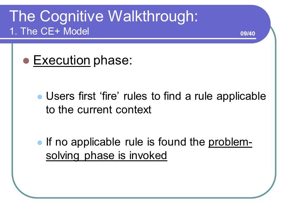 The Cognitive Walkthrough: 1.