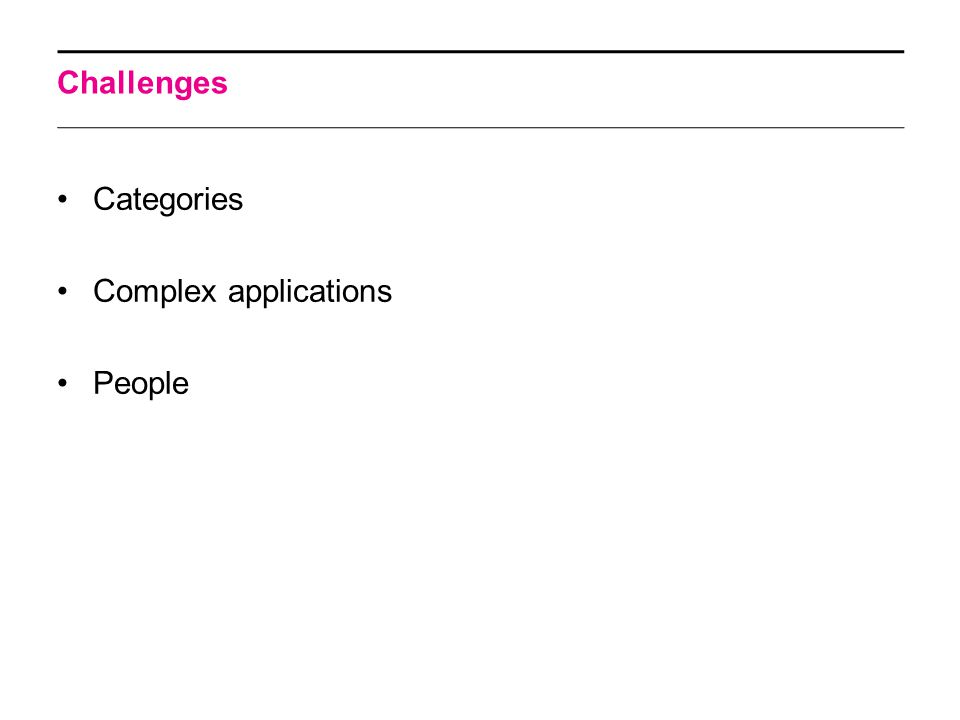 Challenges Categories Complex applications People
