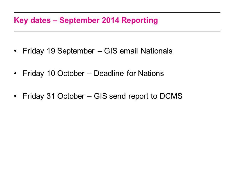 Key dates – September 2014 Reporting Friday 19 September – GIS email Nationals Friday 10 October – Deadline for Nations Friday 31 October – GIS send report to DCMS