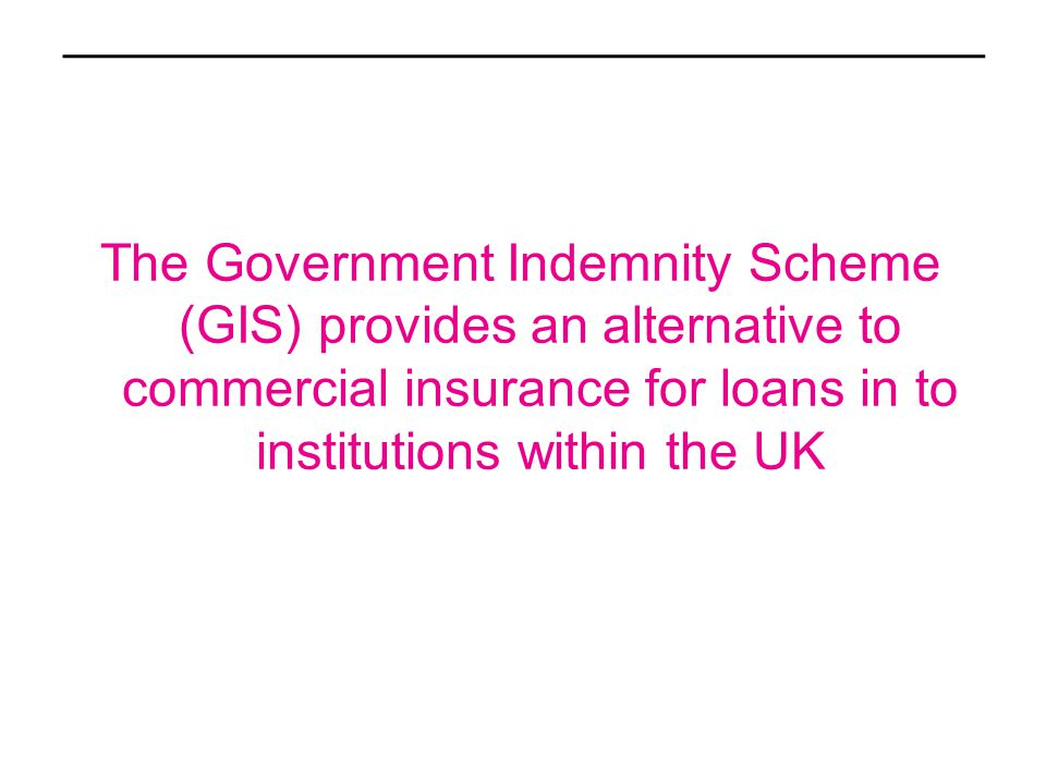 The Government Indemnity Scheme (GIS) provides an alternative to commercial insurance for loans in to institutions within the UK