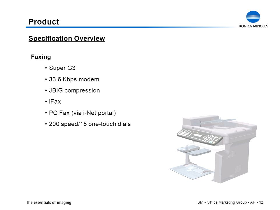 ISM - Office Marketing Group - AP - 12 Product Faxing Super G3 33.6 Kbps modem JBIG compression iFax PC Fax (via i-Net portal) 200 speed/15 one-touch dials Specification Overview