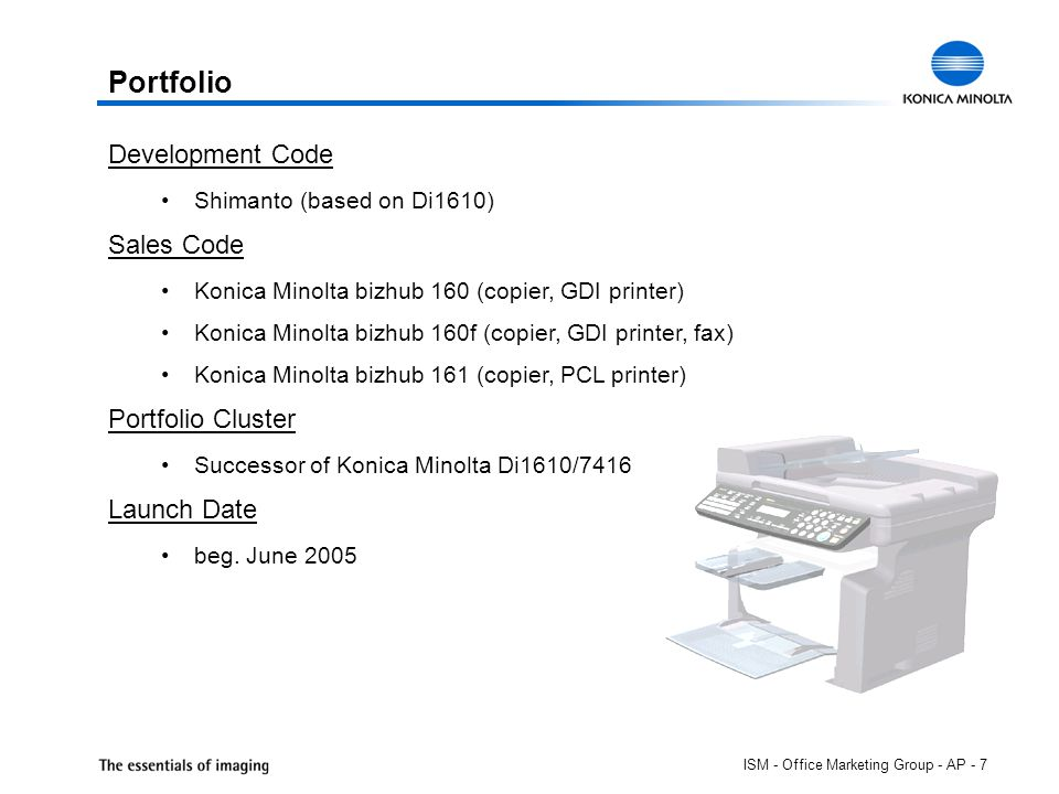 ISM - Office Marketing Group - AP - 7 Development Code Shimanto (based on Di1610) Sales Code Konica Minolta bizhub 160 (copier, GDI printer) Konica Minolta bizhub 160f (copier, GDI printer, fax) Konica Minolta bizhub 161 (copier, PCL printer) Portfolio Cluster Successor of Konica Minolta Di1610/7416 series Launch Date beg.