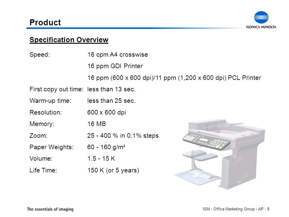 ISM - Office Marketing Group - AP - 8 Product Speed:16 cpm A4 crosswise 16 ppm GDI Printer 16 ppm (600 x 600 dpi)/11 ppm (1,200 x 600 dpi) PCL Printer First copy out time:less than 13 sec.