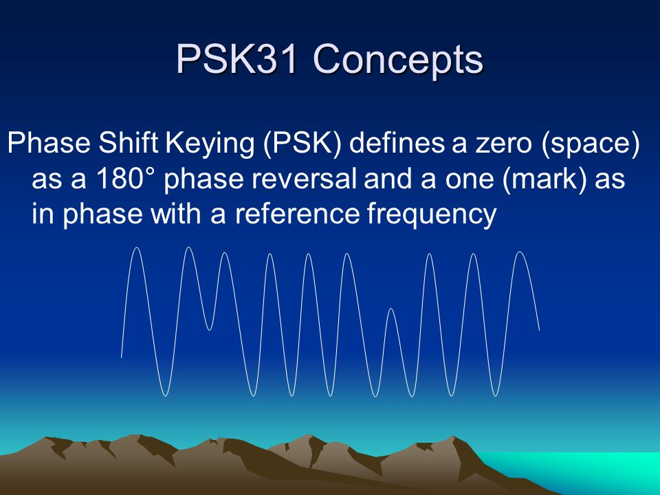 PSK31 Concepts Frequency Shift Keying (FSK) used in RTTY where the 'mark' (1) and 'space' (0) are different frequencies Space Mark