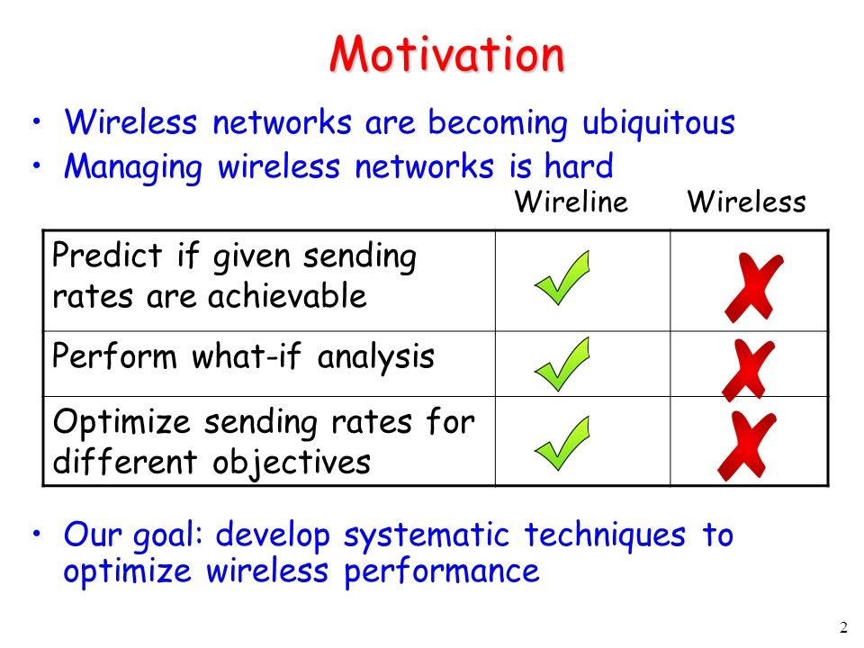 2 Motivation Wireless networks are becoming ubiquitous Managing wireless networks is hard Our goal: develop systematic techniques to optimize wireless performance Predict if given sending rates are achievable Perform what-if analysis Optimize sending rates for different objectives WirelineWireless