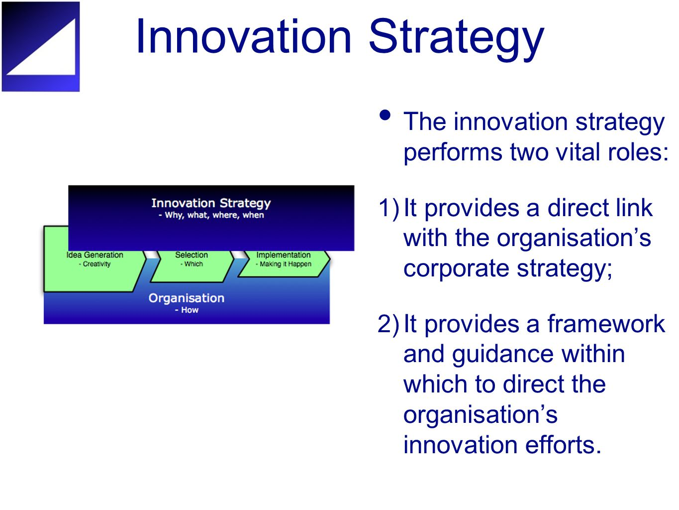 Innovation Strategy The innovation strategy performs two vital roles: 1) It provides a direct link with the organisation's corporate strategy; 2) It provides a framework and guidance within which to direct the organisation's innovation efforts.