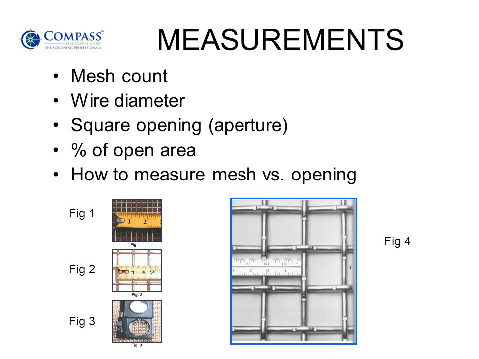 MEASUREMENTS Mesh count Wire diameter Square opening (aperture) % of open area How to measure mesh vs.