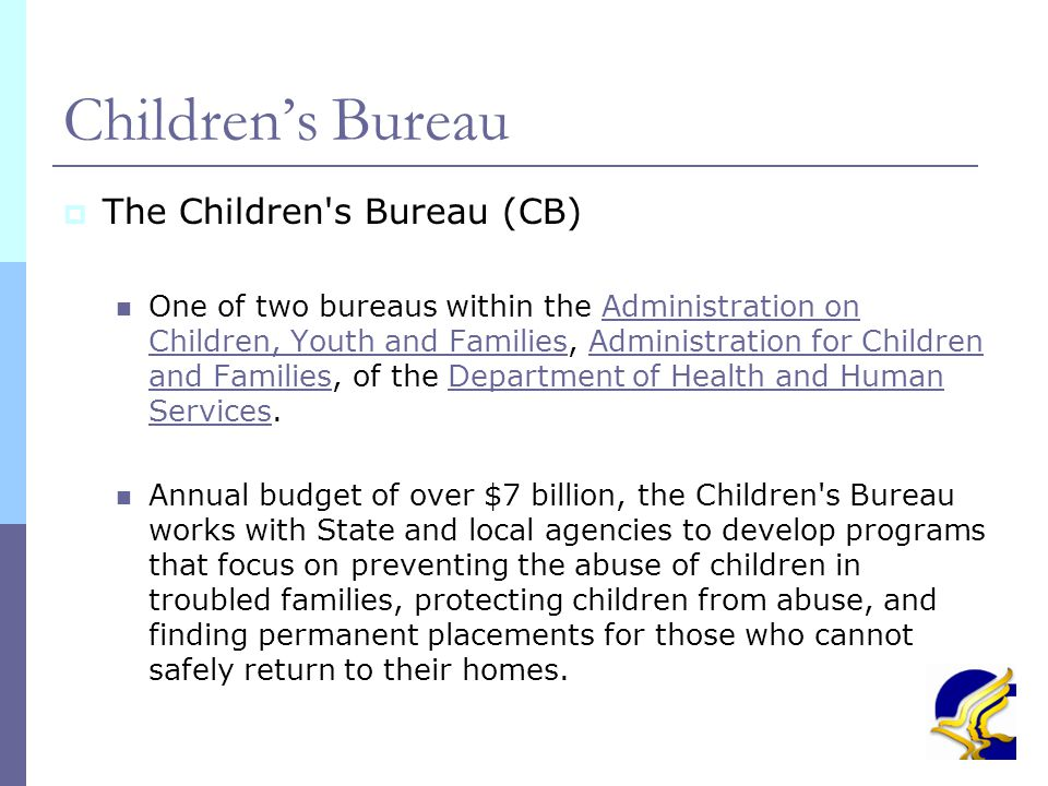 18 Child and Family Services Review – CFSR - Mandated by Congress - Evaluates State conformity with national standards - Data based outcome measures - Safety, permanency and well being for all children - Completed all 50 States, DC, PR by Spring 2005 - Round 2 began Spring 2007