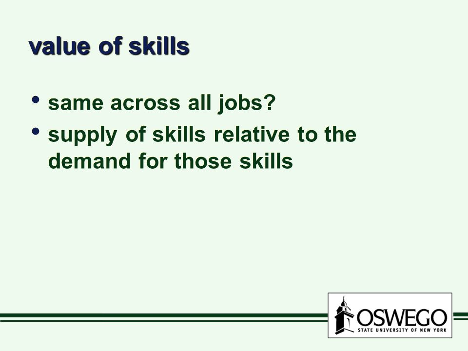value of skills same across all jobs? supply of skills relative to the demand for those skills same across all jobs? supply of skills relative to the