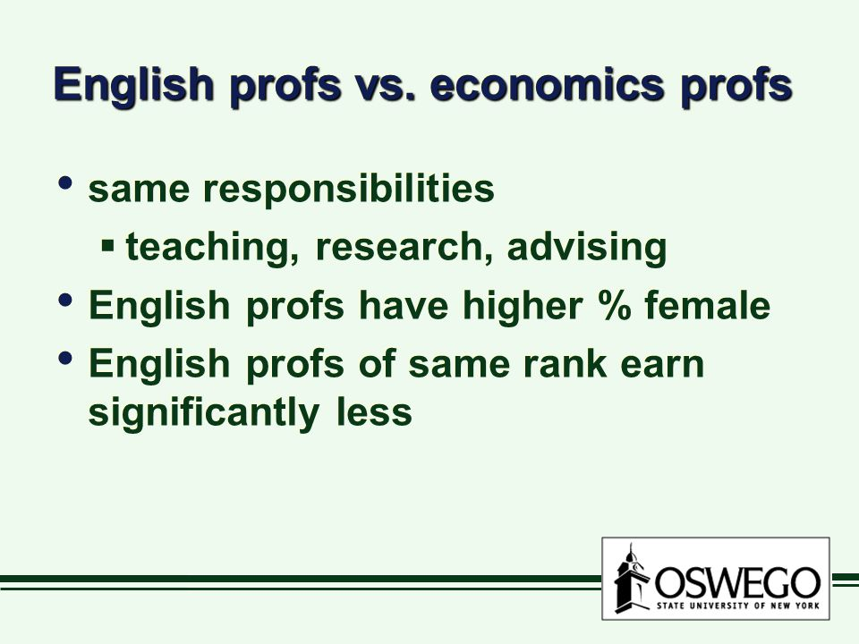 English profs vs. economics profs same responsibilities  teaching, research, advising English profs have higher % female English profs of same rank e