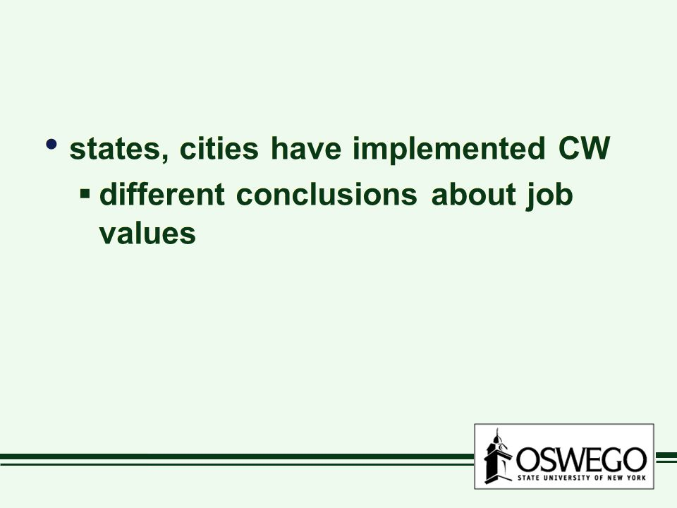 states, cities have implemented CW  different conclusions about job values states, cities have implemented CW  different conclusions about job value