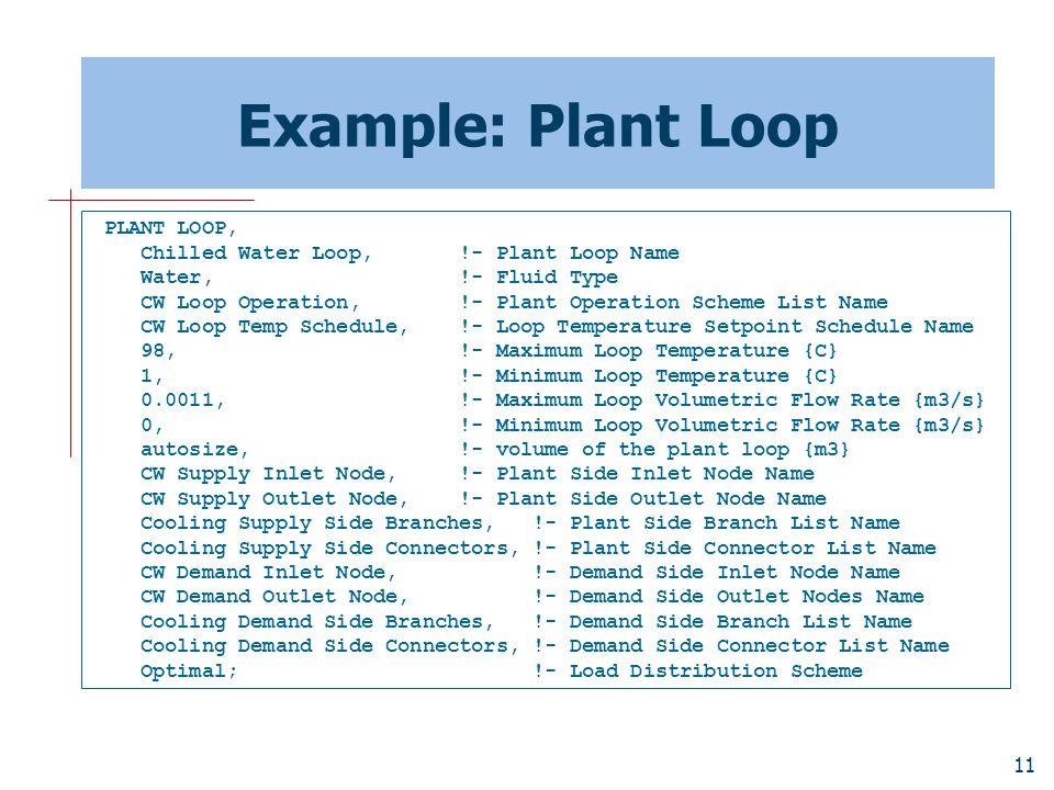 11 Example: Plant Loop PLANT LOOP, Chilled Water Loop, !- Plant Loop Name Water, !- Fluid Type CW Loop Operation, !- Plant Operation Scheme List Name CW Loop Temp Schedule, !- Loop Temperature Setpoint Schedule Name 98, !- Maximum Loop Temperature {C} 1, !- Minimum Loop Temperature {C} 0.0011, !- Maximum Loop Volumetric Flow Rate {m3/s} 0, !- Minimum Loop Volumetric Flow Rate {m3/s} autosize, !- volume of the plant loop {m3} CW Supply Inlet Node, !- Plant Side Inlet Node Name CW Supply Outlet Node, !- Plant Side Outlet Node Name Cooling Supply Side Branches, !- Plant Side Branch List Name Cooling Supply Side Connectors, !- Plant Side Connector List Name CW Demand Inlet Node, !- Demand Side Inlet Node Name CW Demand Outlet Node, !- Demand Side Outlet Nodes Name Cooling Demand Side Branches, !- Demand Side Branch List Name Cooling Demand Side Connectors, !- Demand Side Connector List Name Optimal; !- Load Distribution Scheme