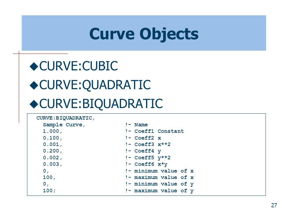 27 Curve Objects  CURVE:CUBIC  CURVE:QUADRATIC  CURVE:BIQUADRATIC CURVE:BIQUADRATIC, Sample Curve, !- Name 1.000, !- Coeff1 Constant 0.100, !- Coeff2 x 0.001, !- Coeff3 x**2 0.200, !- Coeff4 y 0.002, !- Coeff5 y**2 0.003, !- Coeff6 x*y 0, !- minimum value of x 100, !- maximum value of x 0, !- minimum value of y 100; !- maximum value of y