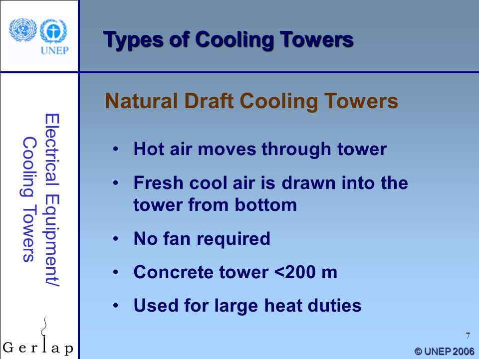 7 © UNEP 2006 Types of Cooling Towers Hot air moves through tower Fresh cool air is drawn into the tower from bottom No fan required Concrete tower <2