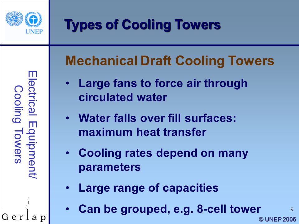 9 © UNEP 2006 Types of Cooling Towers Large fans to force air through circulated water Water falls over fill surfaces: maximum heat transfer Cooling r