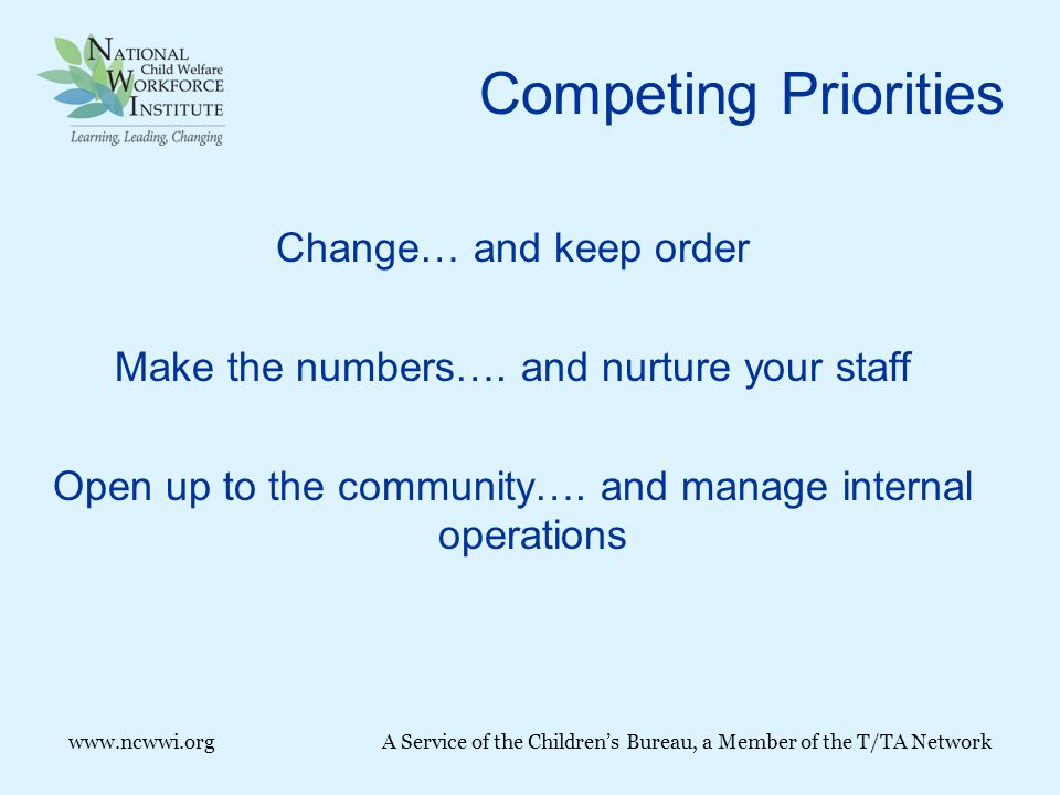 Competing Priorities Change… and keep order Make the numbers….