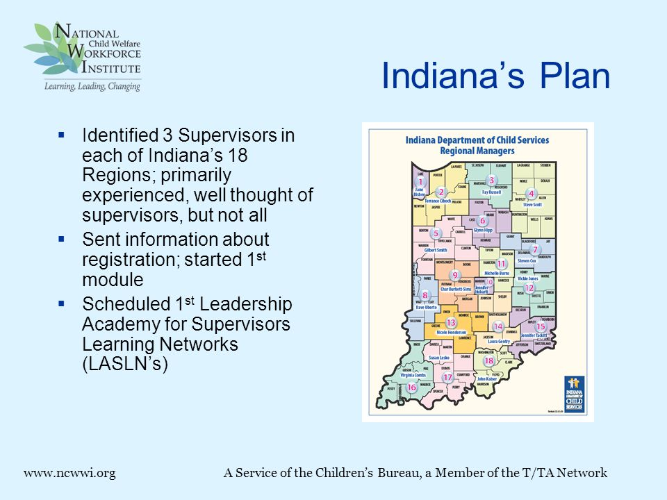 Indiana's Plan  Identified 3 Supervisors in each of Indiana's 18 Regions; primarily experienced, well thought of supervisors, but not all  Sent information about registration; started 1 st module  Scheduled 1 st Leadership Academy for Supervisors Learning Networks (LASLN's) www.ncwwi.orgA Service of the Children's Bureau, a Member of the T/TA Network