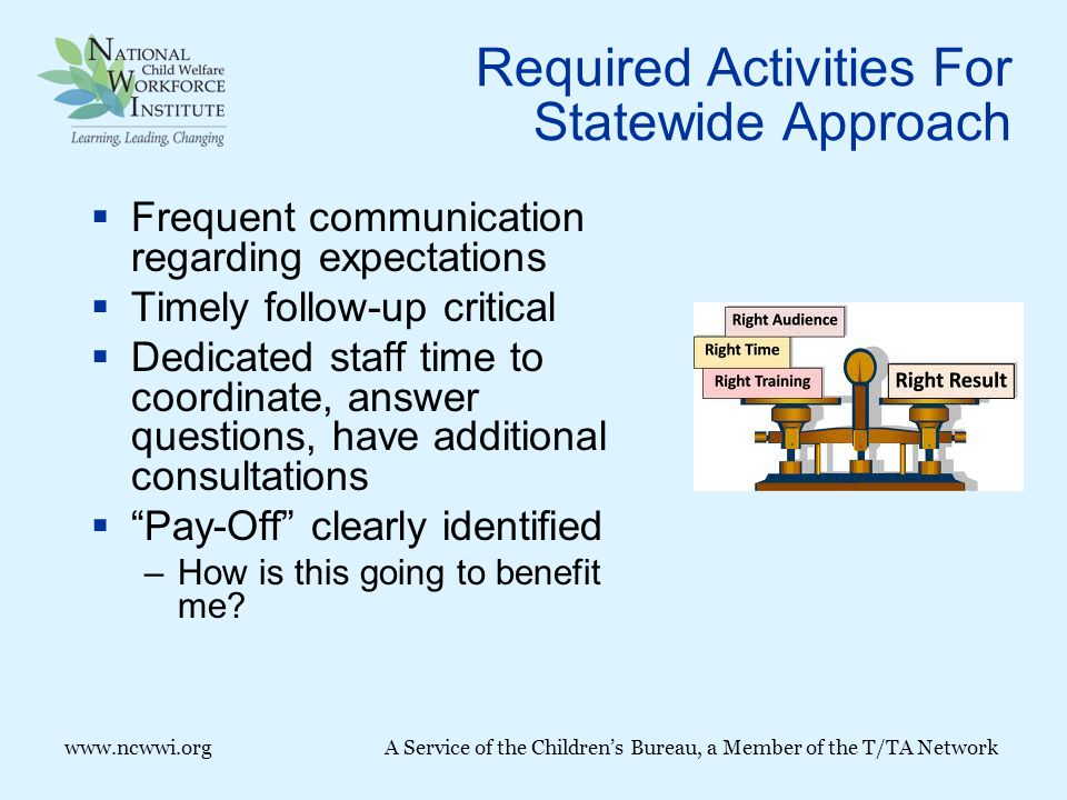 Required Activities For Statewide Approach  Frequent communication regarding expectations  Timely follow-up critical  Dedicated staff time to coordinate, answer questions, have additional consultations  Pay-Off clearly identified –How is this going to benefit me.