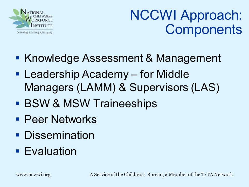 www.ncwwi.orgA Service of the Children's Bureau, a Member of the T/TA Network NCCWI Approach: Components  Knowledge Assessment & Management  Leadership Academy – for Middle Managers (LAMM) & Supervisors (LAS)  BSW & MSW Traineeships  Peer Networks  Dissemination  Evaluation