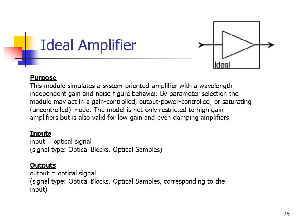 25 Ideal Amplifier Purpose This module simulates a system-oriented amplifier with a wavelength independent gain and noise figure behavior.