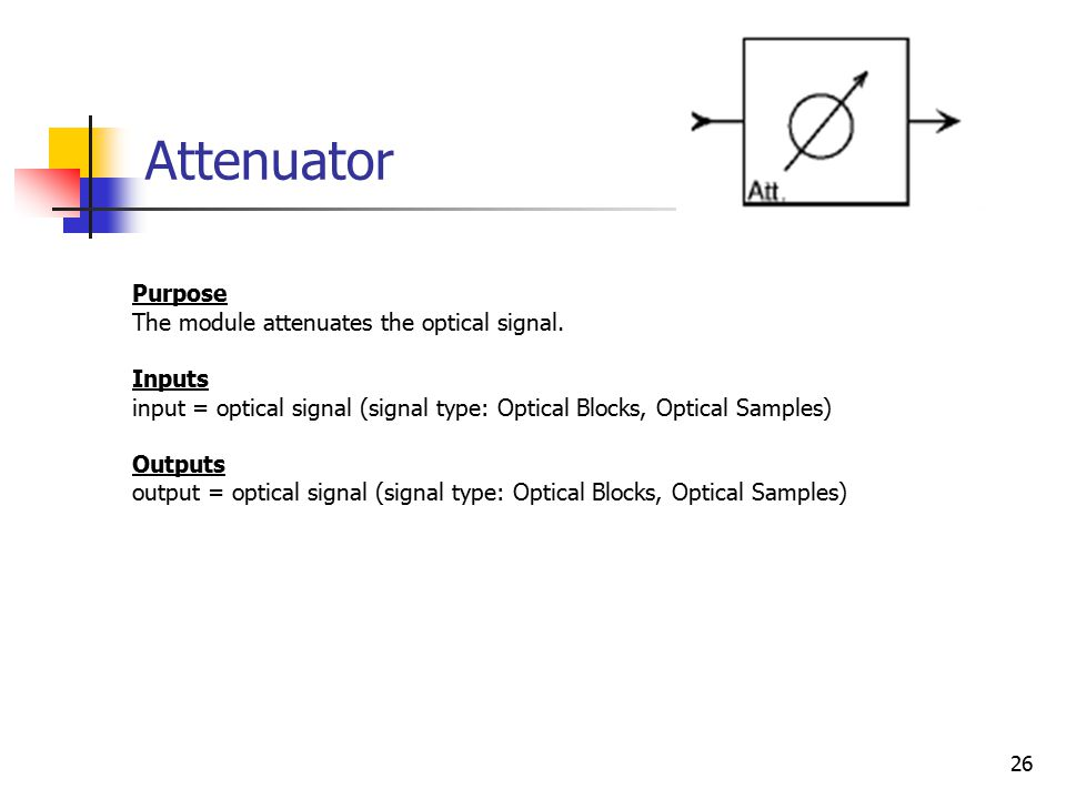 26 Attenuator Purpose The module attenuates the optical signal.