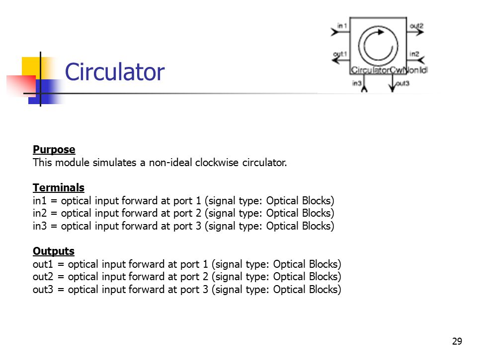 29 Circulator Purpose This module simulates a non-ideal clockwise circulator.