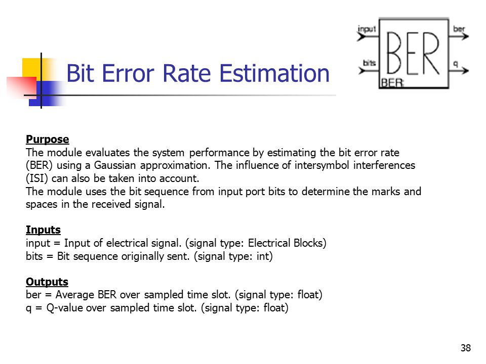 38 Bit Error Rate Estimation Purpose The module evaluates the system performance by estimating the bit error rate (BER) using a Gaussian approximation.